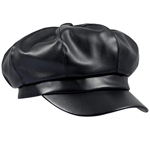 - moonsix Newsboy Hat,Plain Cabbie Visor Beret Gatsby Ivy Caps for Women,Black(PU Leather Style 2)