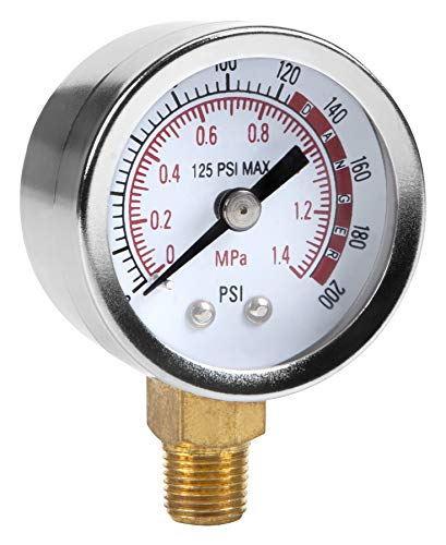 Performance Tool 0-200 PSI Air Gauge for Air Tank Accessory W10055