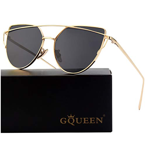 - GQUEEN Fashion Oversized Polarized Metal Frame Mirrored Lens Cat Eye Sunglasses for Women
