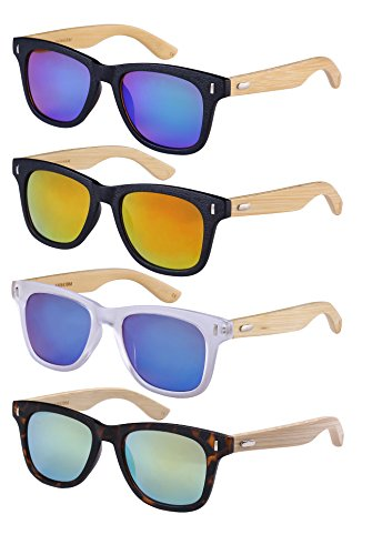 Edge I-Wear Horned Rim Wood Bamboo Sunglasses Mirrored Lens 540845BM 1 100% UV400 PROTECTION: Edge I-Wear sunglasses are made of the most high quality polycarbonate lenses with UV400 protection, block out 100% of both UVA and UVB Rays, provide optimum level of optical clarity and complete sun protection. REAL BAMBOO MATERIAL: These Edge I-Wear eco- friendly bamboo sunglasses feature real bamboo which is ultra-light weight and durable for a long term use. You'll feel no pressure when you wearing them! Every pair comes with a unique and different texture, which will definitely make you stand out from the crowd! STYLISH DESIGN SHAPE: Edge I-Wear sunglasses are always at top of their class based on its style, quality and affordability. These sunglasses fit all face shapes and show your high end taste. Stylish design with fashion element makes it the best choice for every occasion! Available in variety of colors and frames to suit all tastes.