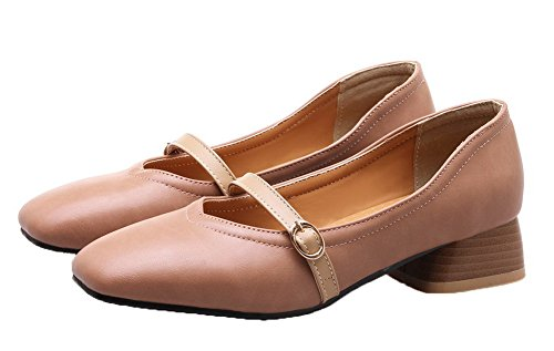 VogueZone009 Women's Pull-On Square-Toe Low-Heels Solid Pumps-Shoes Brown iKGs97BqL