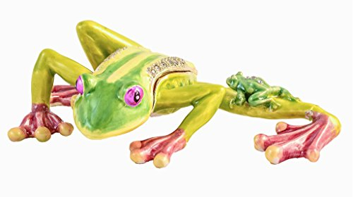 Leaping Frog with Baby Trinket Box, Hand Set Swarovski Crystal, Hand Painted Green & Pink Pearlized Enamel Over Solid Pewter Base, Comes in Beautiful Box, L 4.25 x H 1.25 x W 2.50