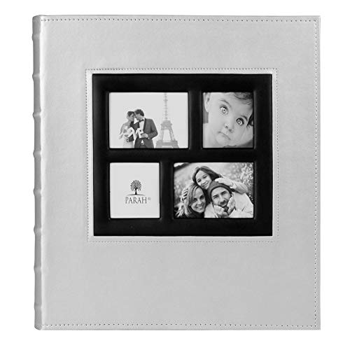 PARAH LIFE Premium 500 Photo Family Wedding Anniversary Baby Vacation Album Sewn Bonded Leather Book Bound Multi Directional 500 4x6 Photos 5 Per Page Large Capacity Deluxe Customizable Silver