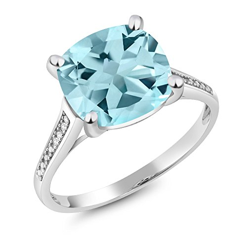Gem Stone King 10K White Gold Sky Blue Topaz and Diamond Women s Ring 4.25 Ct Cushion Cut Available 5,6,7,8,9