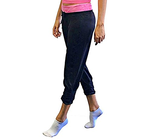 Danskin Now Women's Active Performance Shirred Capri Pant w/ Jacquard Waistband (S, Pink) (Capris Danskin)