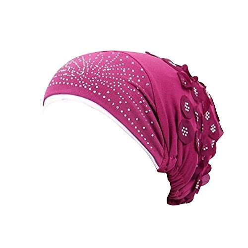 TANGSen Women Muslim Stretch Turban Hat Floral Chemo Cap Hair Loss Head Scarf Wrap Hijib Casual Cap Hats(Hot Pink,Free Size)