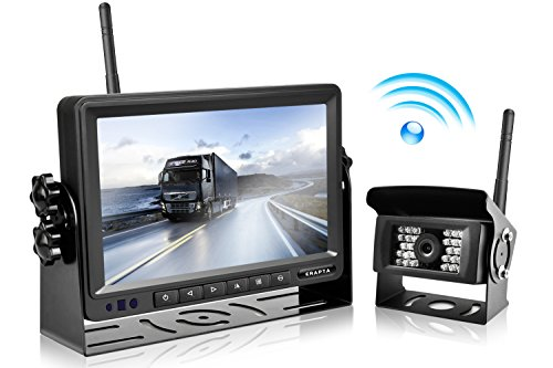 eRapta Wireless Backup Camera and Monitor Kit Reverse Rearview Cam Digital Signal 2018 Update for Truck/Trailer/Bus/RV/Pickups/Camper/Motorhome/Van When Reversing Parking Backing Up E1