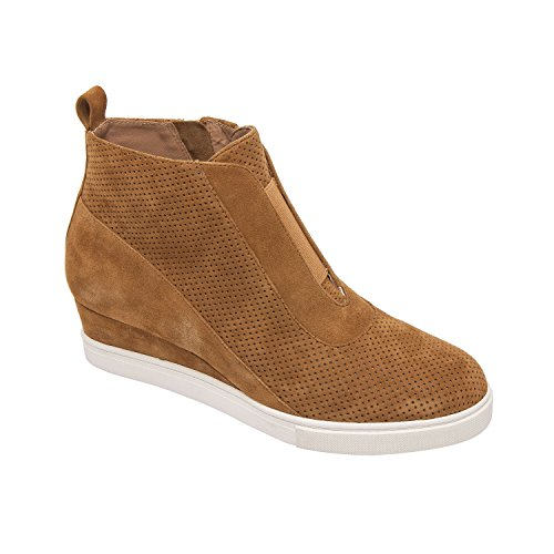 Toffee Brown Apparel - Linea Paolo Anna | Low Heel Designer Platform Wedge Sneaker Bootie Comfortable Fashion Ankle Boot Toffee Perforated Suede 6M