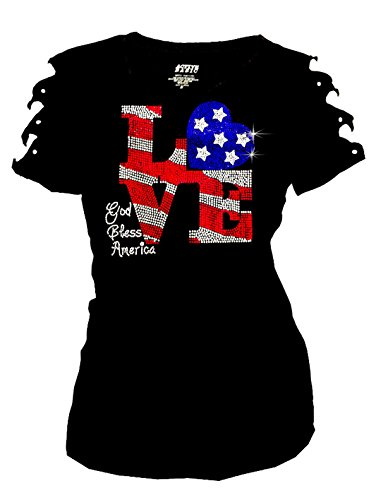 Bling Rhinestones 4th of July T-Shirt Ripped Cut Out American Flag (2X-Large)
