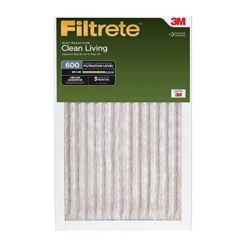 Filtrete Clean Living Dust Reduction AC Furnace Air Filters, 600 MPR, 16 x 30 x 1-Inches, 12-Pack