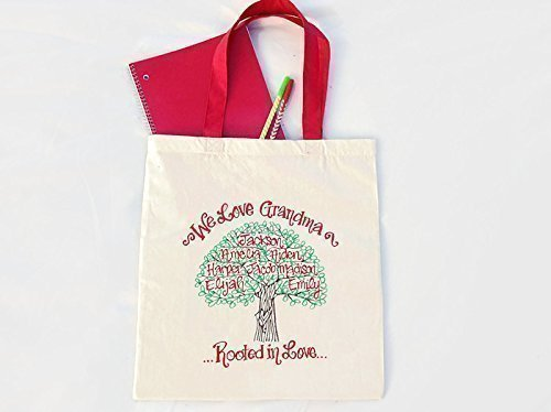 Hand Painted Personalized Tote Bag - We Love Grandma Family Tree - Mother's Day
