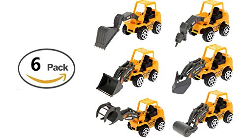 Jack Front Loader - Toy Construction Vehicles - Plastic Toys (6 Pc Set) Fun Play Logger Lift Frontend Loader Road Roller Excavator Plow Tractor Jackhammer Tractor - Diecast Toys