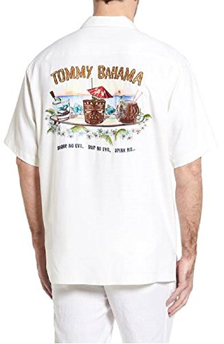 Tommy Bahama Embroidered Shake No Evil Silk Camp Shirt (Color: Continental, Size XL) (Silk Camp Panel Shirt)