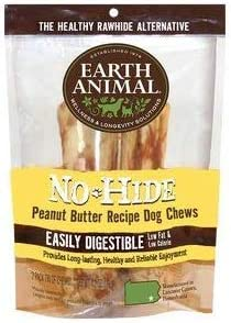 No Hide Earth Animal Peanut Butter Dog Chews. 1 Pack Medium 6-7 inch 2 Chews Total The Safe Alternative to Rawhide