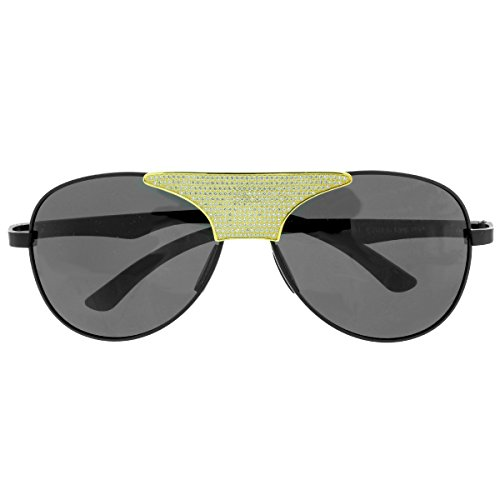 Iced Out Aviator Style Sunglasses Black Lenses Gold Tone Lab Diamonds UV - Diamond Sunglasses Aviator
