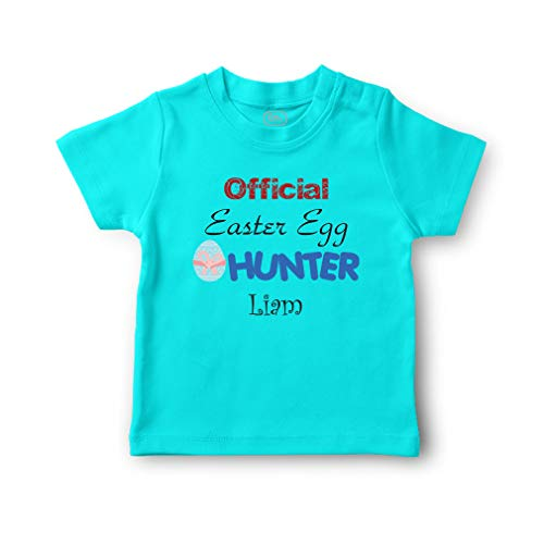 Personalized Custom Holidays Official Easter Egg Hunter2 Cotton Short Sleeve Crewneck Boys-Girls Toddler T-Shirt Jersey - Aqua Blue, 6 Months