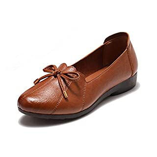 Free Week Women's Comfort Flats Leather Loafers Casual Slip On Flats Breathable Boat Shoes Driving Walking Fashion Soft Shoes Brown