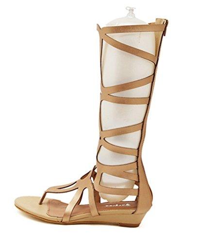CRC Womens Wedge Heel Knee High Leatherette Roman Sparta Gladiator Flip-flop Sandals Beige yr4K1lrT