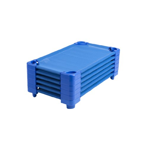 ECR4Kids Stackable Ready-to-Assemble Toddler Kiddie Cots (6 Pack), Blue (Toddler Cots)