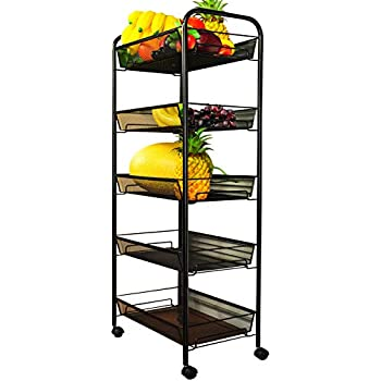 Amazon Com Homfa 4 Tier Wire Rolling Cart Deep Storage Stand Cart