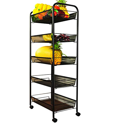 Shelving Mesh (YIMU 5 Tier Mesh Rolling File Storage Cart with Basket Shelving Utility Trolley for Office Kitchen Pantry Bathroom Bedroom, Black)