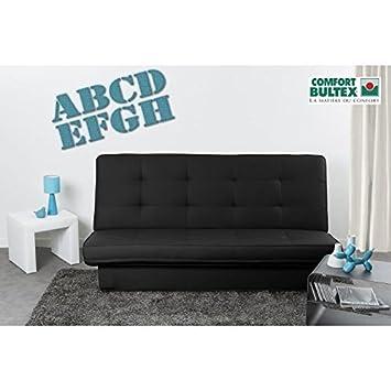 Generico - Sofá convertible en cama clic-clac, 3 plazas, de piel sintética, negro: Amazon.es: Hogar