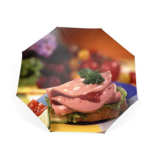 Sandwich Meat Cucumbers Tomatoes Umbrella Automatic Open Close Folding Portable Golf Umbrellas with UV Coating]()