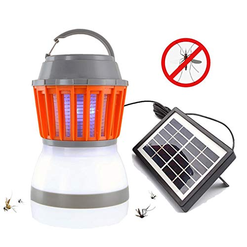 Solar Powered Mosquito Killer Lamp Bug Zapper Trap Camping Lantern 2In1 Portable USB Anti Mosquito Moth Fly Electric UV Light ()