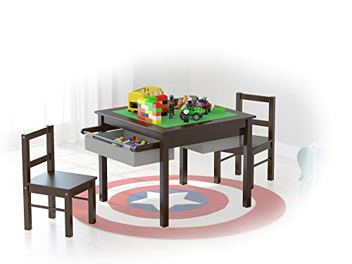 UTEX 2-in-1 Kids Multi Activity Table and 2 Chairs Set with Storage (Espresso with Gray ()