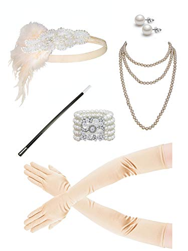 Zivyes 1920s Accessories Flapper Costume for Women Headpiece Cigarette Necklace Gloves -
