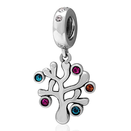 Charmstar Family Tree Dangle Charm with Colorful Austrian Crystal Sterling Silver Birthstone Pendant Bead for European Bracelet (Antique Austrian Crystal)