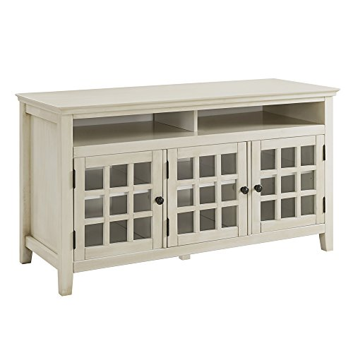 Distressed White Media Cabinet, Gray ()