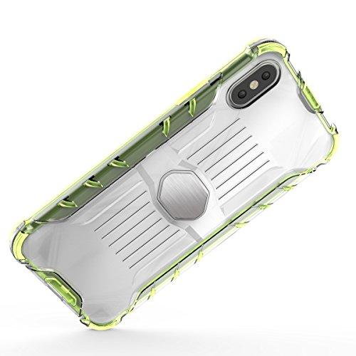 Apple iPhone X Coque Véhicule Monté et Magnétique [Armure Series], Voguecase 2 in 1 Antichoc TPU et Dur PC Bord Rugged Protecteur Coquille Shell Housse Étui(Vert) + Gratuit stylet l'écran aléatoire un