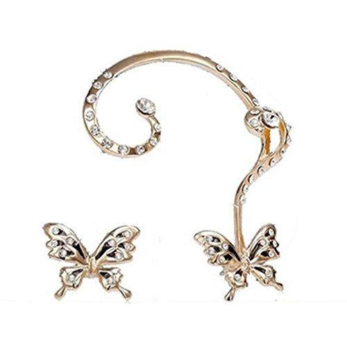 Clearance   Yang Yi 2018 Fashion Jewelry Gift Women Crystal Beauty Butterfly Cuff Ear Clip Earrings  1 Pair  As Show