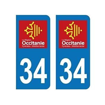 Zone-Stickers 2 Autocollants Plaque Immatriculation 34 Occitanie Hérault - Arrondis