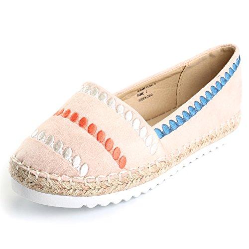 Alexis Leroy Women's Stripe Canvas Espadrilles Shoes Pumps Slip On Flat Sandals Beige F0ed60K1lW