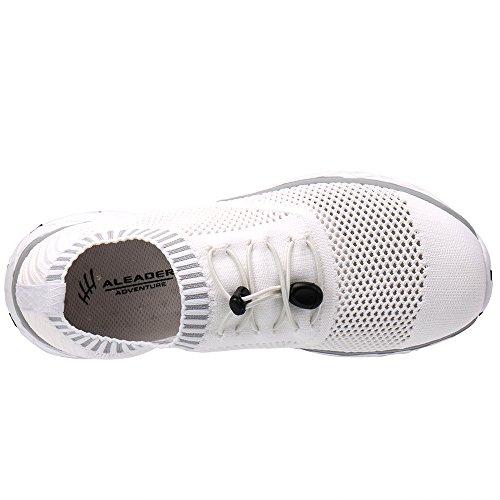 ALEADER Mens Adventure Aquatic Water Shoes White/Gray 10 D(M) US