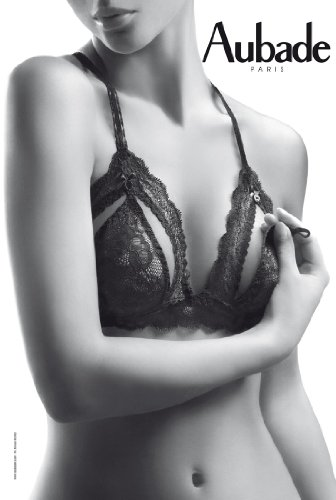 Atriangle braall in black lace with cups can be undone to reveal the breasts using the magic button at the strap