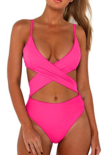 CHYRII Womens One Piece High Waisted V-Neckline Sexy Criss Cross Front Flattering Monokini Swimwear Pink S ()
