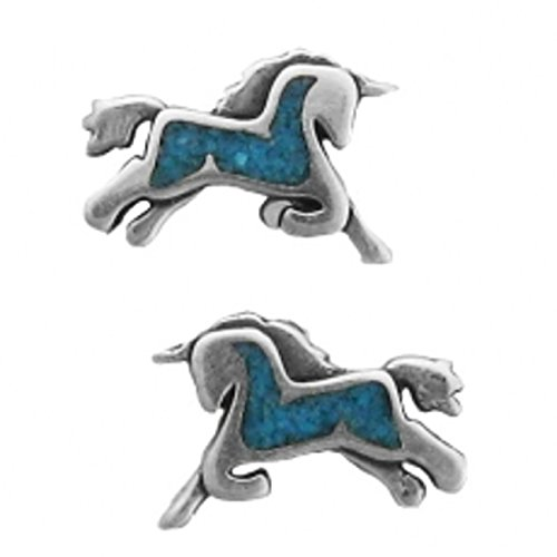 Silver Turquoise Sterling Inlay Blue (Sterling Silver Unicorn With Blue Turquoise Chips Inlay Post Stud Earrings)
