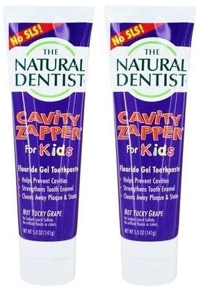 The Natural Dentist Cavity Zapper Fluoride Gel Toothpaste For Kids Not Yucky Grape (Pack Of 2) Helps Strengthen Tooth Enamel and Prevent Cavities, 5 oz. each