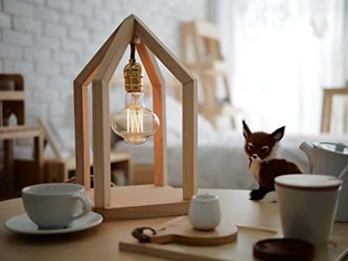 Vintage Wood House Dimmable Handmade desk lamp with 110V. Edison bulb by Barrel Workshop