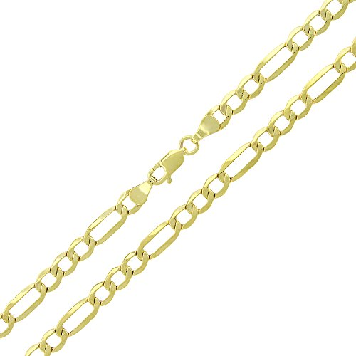 """10K Yellow Gold 4.5mm Hollow Figaro Link - Light-Weight - Necklace Chain 20"""" - 26"""" (22)"""