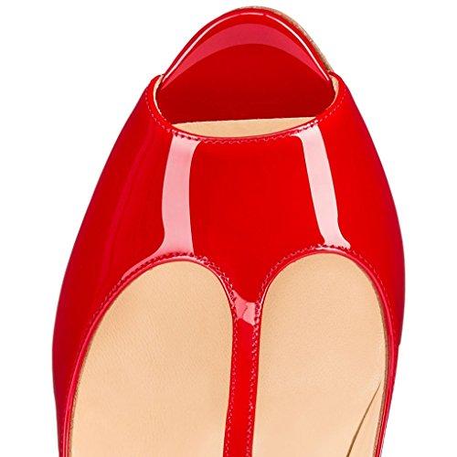 Strap Wedding Eldof Pumps Red Heel Sandals Dress Buckle T Shoes High Toe Peep Ankle Womens 10cm RqURFH