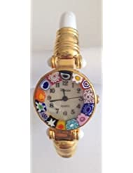 CA DORO Murano Millefiori Bangle Watch - Opaque Cream Bracelet [Watch]