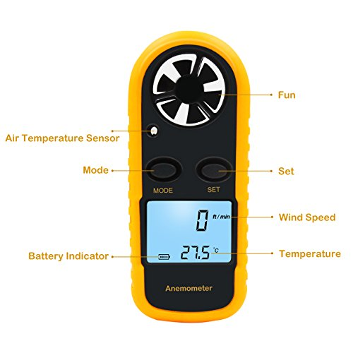 elenest digital anemometer thermometer mini lcd wind. Black Bedroom Furniture Sets. Home Design Ideas