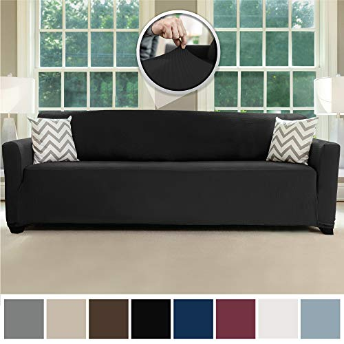 1 Piece Plush - Sofa Shield Original Fitted 1 Piece Oversize Sofa Slipcover, Soft Stretch Material, Seat Width Up to 78