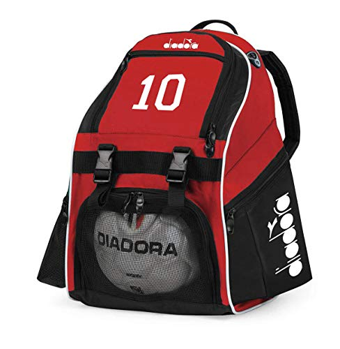 Code Four Athletics Diadora Squadra Soccer Backpack Customized with Number or Initials - Color red ()