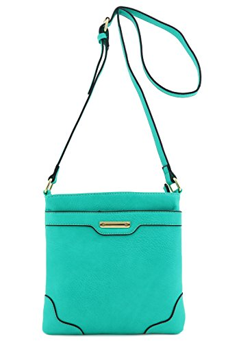 Women's Medium Size Solid Modern Classic Crossbody Bag with Gold Plate (Jade)