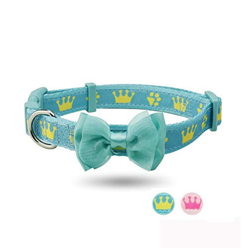 (CheeseandU Cat Dog Safety Breakaway Collar Cute Crowns&Paws Printed Soft Nylon Collar with Sweet Lace Bowknot Princess Style Collar Birthday Valentine Gift for Small Medium Large Dogs Cas, Green)